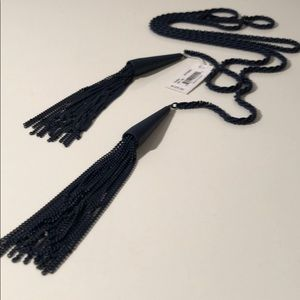 KENDRA SCOTT NAVY LARIAT NECKLACE WITH POUCH